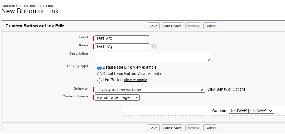Visualforce page button
