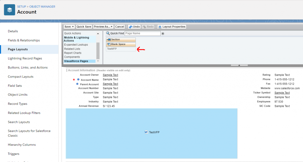 Layout in visualforce page